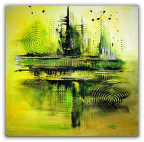 Acrylmalerei, Grün, Abstrakt, Malerei