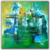 Grün, Abstrakte malerei, Wandbild, Gemälde