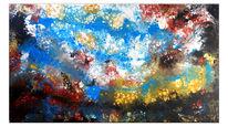 Wandbild, Abstrakte malerei, Indonesische inseln, Acrylmalerei