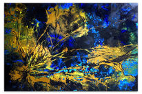 Gemälde, Acrylmalerei, Blau gelb, Korallen