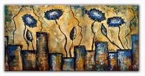 Blumen, Abstrakte kunst, Acrylmalerei, Wandbilder