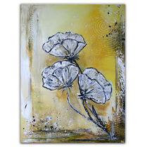 Modernes gemälde, Blumen handgemalt, Acrylmalerei, Rot