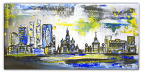 Stadt, Abstrakt, Moskau, Gemälde