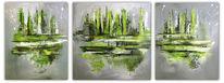 Abstrakt grün grau, Driptychon, Abstrakte kunst, Handgemaltes bild