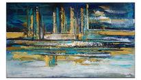Blau gold, Gemälde, Acrylmalerei, Nordwind