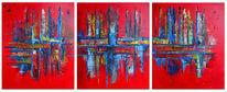 Malerei, Rot blau, Abstrakte bilder, Dreiteilig gemälde