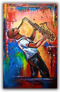 Gelb, Malerei, Saxofon, Rot