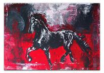 Abstrakt, Malerei, Rot schwarz, Pferde