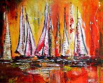Wandbild, Gold, Gemalte segelboote, Gemälde