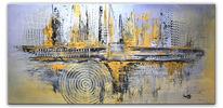 Gelb, Gold, Abstrakte kunst, Wandbild