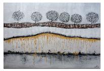 Acrylmalerei, Abstrakte bäume, Erde gold braun, Malen