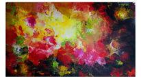 Abstrakte kunst, Urknall, Lila rot gelb, Fluid painting