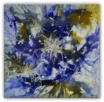 Gemälde, Acrylmalerei, Gelb, Gold