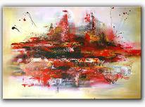 Grau, Gemälde, Abstrakte malerei, Rot