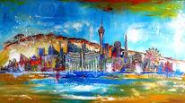 Acrylmalerei, Skyline, Malen, Malerei