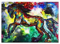 Rot gelb, Acrylmalerei, Buntes pferd, Wandbild