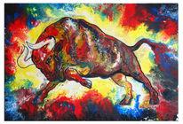 Braun, Malerei abstrakt, Stier, Malen