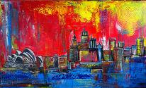 Acrylmalerei, Gemälde, Stadt, Malerei