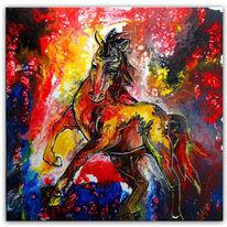 Malen, Bunt, Acrylmalerei, Pferde