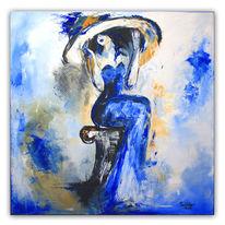 Gemälde, Frau, Blau, Modern