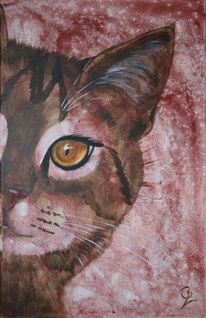 Katzenportrait, Tierportrait, Realistisch gemalte katze, Acrylmalerei