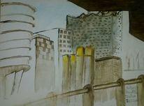 Spontan, Aquarellmalerei, Architektur, Aquarell