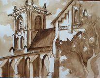 Aquarellmalerei, Kirche, Architektur, Aquarell