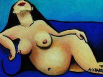 Schwangerschaft, Akt, Frau, Malerei
