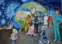 Welle, Menschen, Pandemie, Malerei