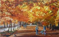 Malerei, Park, Herbst, Leipzig
