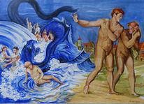 Menschen, Pandemie, Welle, Malerei