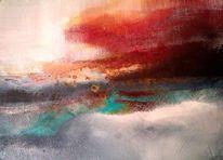 Blau, Abstrakt, Landschaft, Acryl rot