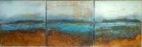 Landschaft, Braun, Blau, Grüne blaue patina
