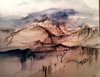Mischtechnik, Aquarellmalerei, Landschaft, Blau