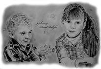 Bleistiftzeichnung, Person, Kinder, Zeichnung