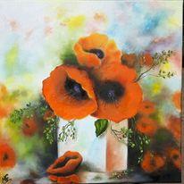 Ölmalerei, Mohnblumen, Stillleben, Mohn