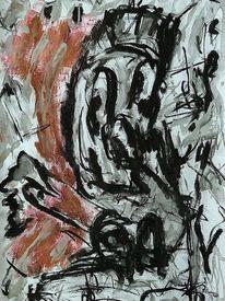 Innere befindlichkeiten, Mischtechnik, Malerei, Kopf