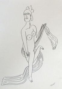 Bleistiftzeichnung, Figur, Schönheit, Frau