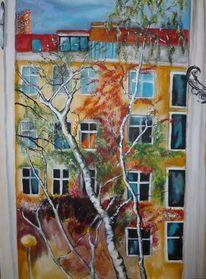 Hof, Haus, Fenster, Baum