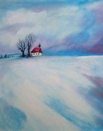 Winter, Himmel, Feld, Wolken