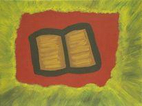 Buch, Stillleben, Acrylmalerei, Rot