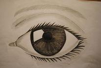 Augen, Mädchen, Bleistiftzeichnung, Zeichnung