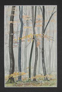 Laub, Mischtechnik, Herbst, Aquarellmalerei