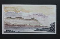 Rhein, Nebel, Berge, Fluss