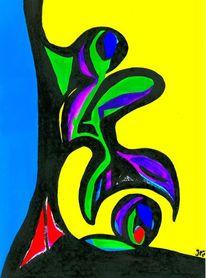 Farben, Formen, Kontrast, Blau schwarz