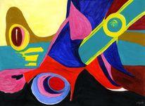 Abstrakt, Rot schwarz, Hellblau, Stöckel schuh