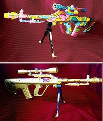 Waffe, Schießen, Bunt, Ak47