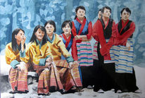 Schulkind, Kinder, Asien, Aquarellmalerei