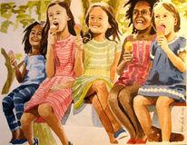 Geschwister, Mädchen, Sonne, Fröhlichkeit