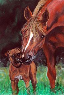Pferdezeichnung, Pastellmalerei, Hund, Pferde